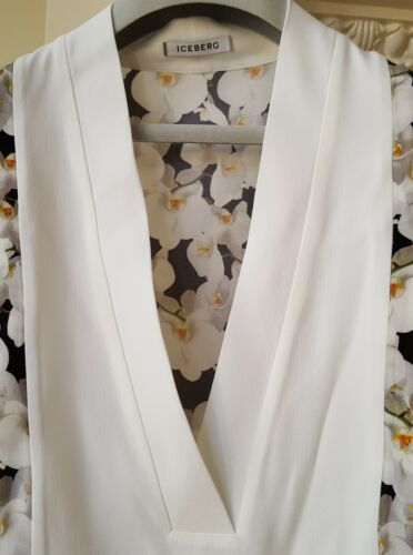 With Orchids Iceberg Size Neck Blouse 10 Details V It 42 Uk White IwRZqaF
