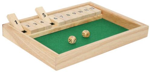 Shut the Box XL große Variante Klappenspiel Würfelspiel 12 Klappen Thekenspiel
