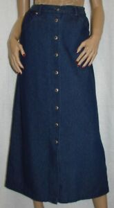 Long-Blue-Denim-Cowgirl-Western-Skirt-Size-L-Southwest-Canyon-Button-Front