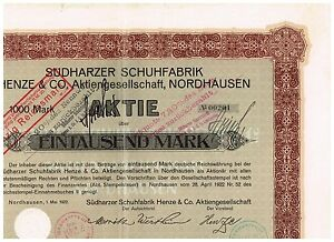 Suedharzer-Schuhfabrik-AG-Nordhausen-1922-1000-Mark-ungelocht