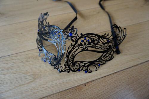 Venetian Black  Metal Mask Filigree Masquerade Blue Diamante Ball UK Prom//Ball