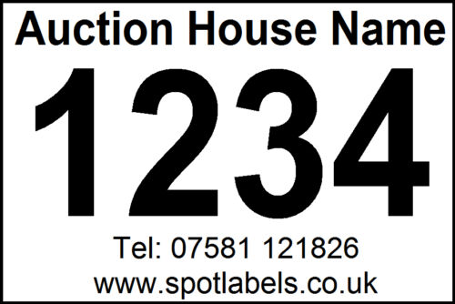 1000 Personalised Auctioneers Lot Number, Sticky,  Easy Peel Labels, No Residue