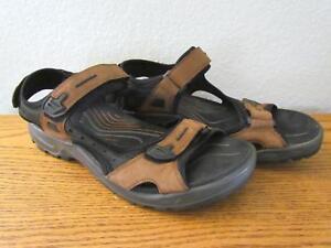 10a4564349d9 ECCO Yucatan Bison Sandals Sport Brown Black Mens US 12 12.5 EU 46 ...