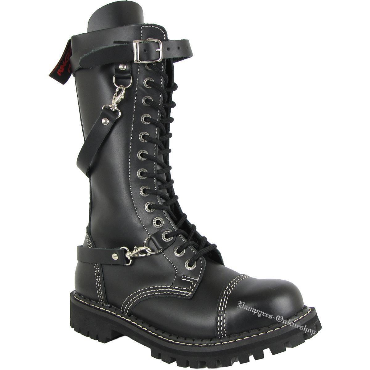 Angry Itch 14-Loch 3-Riemen Reißverschluss black Rangers Stiefel Stahlkappen