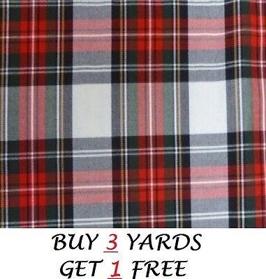 Genuine Red White Royal Stewart Tartan Woven Poly-Viscose Dress Fabric Material
