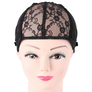 Women Black Adjustable Wig Cap For Wig Making Weave Elastic Hair Net ... a71c9193d5