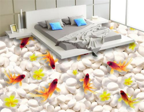 3D Goldfish Flower 58 Floor WallPaper Murals Wall Print 5D AJ WALLPAPER AU Lemon