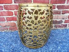 Vintage Mid Century Pierced Brass Garden Stool Chair Seat Drum End Table Stand