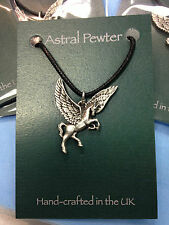 PENDANT ASTRAL PEWTER PEGASUS FLYING HORSE NECKLACE HAND CRAFTED UK FINISH NEW