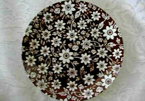 Vintage-JOHNSON-BROTHERS-Country-Cupboard-Brown-Chintz-Plate-Made-in-England