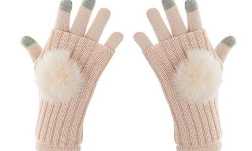 Children Screen Winter Gloves For Baby Girls Warm Wool Full Finger Knitted Glove
