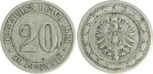 Empire 20 Pfennig 1888 D F. Ss (3) 26028