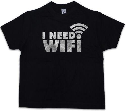 I NEED WIFI Kids Boys T-Shirt Smartphone Addicted Wlan Lan Fun Games Gaming PC