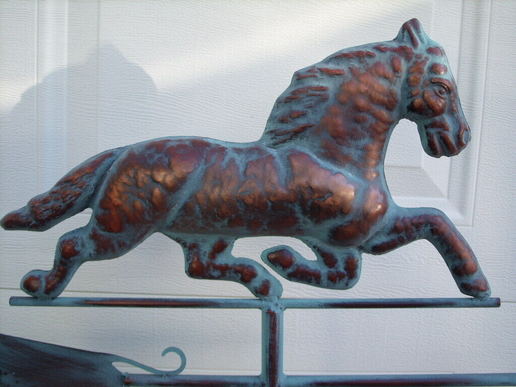 Horse Running Weathervane Antiqued Copper Finish Weather Vane Hand Crafted