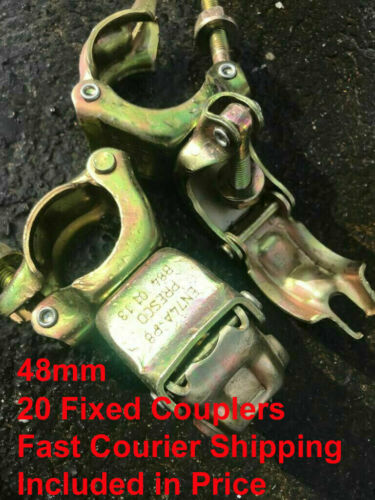 20 x Scaffolding Scaffold Fittings FIXED DOUBLE Couplers Clamps FREE DELIVERY
