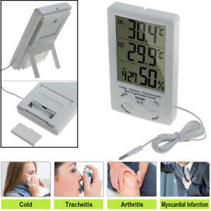 Digital Wetterstation Thermometer Hygromete LCD Außen Innen Sensor Messer Uhr
