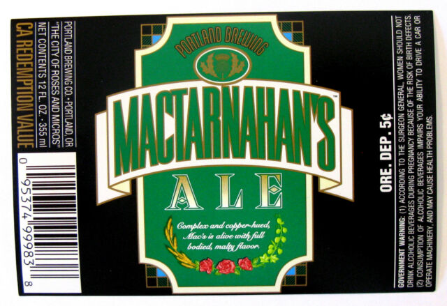 Portland Brewing Mactarnahan's Ale Beer Label or 12oz for sale ...