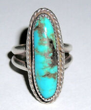 WOW! Family Estate Old Pawn Ster OVAL TURQUOISE trading-post ID intials! Sz 5.5