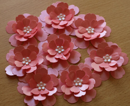 8 3D CORAL SHIMMER PEARL PAPER FLOWERS WEDDING STATIONERY CARDS TOPPERS