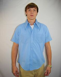 NWOT-Vintage-90-039-s-Men-039-s-Blue-Cuffed-Short-Sleeve-Shirt-by-Royal-Choice-Size-L