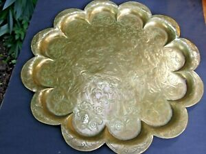 Large-Antique-Indian-Engraved-Asian-Brass-Charger-Wall-Plate-Serving-Tray