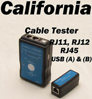 Network Usb A B Cable Tester Rj45 Lan Rj11 Phone Telephone Cat5 Cat6 Cat6e 12
