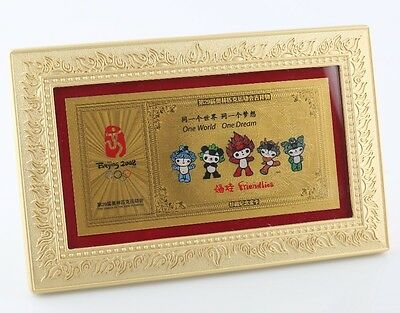 2008 Beijing Olympics Commemorative 999 pure Gold Card Framed Friendlies Panda