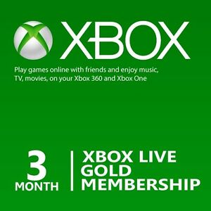 Details about Microsoft 3 Month Xbox Live Gold Membership Subscription for  Xbox One/Xbox 360