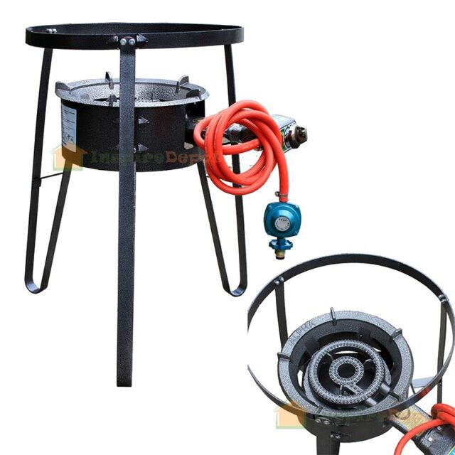 Single Gas Stove Propane Burner Large BBQ LPG Cast Iron Stand Outdoor Camping