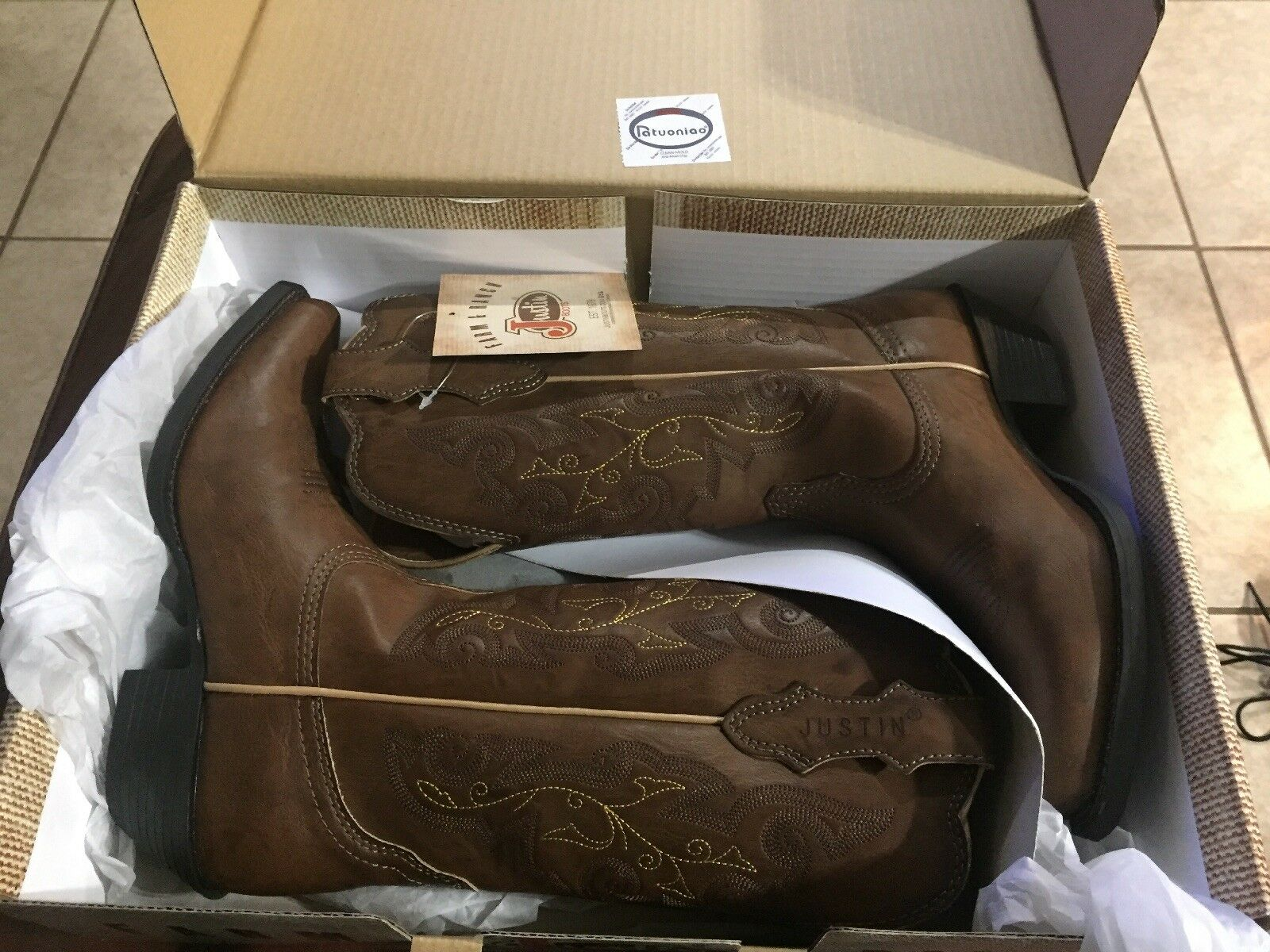 New New New Women's Justin Farm & Ranch Tracy Brown Cowgirl Snip Toe JBL1116 Size 6.5 B f05227