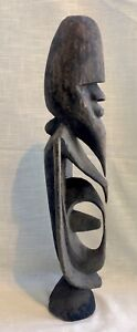 Weathered-Vintage-Hand-Carved-Wood-Male-Man-Figure-African