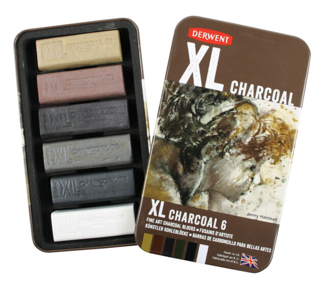 Derwent XL Charcoal Tin Set - 6 Shades of Chunky Drawing & Sketching Art Blocks