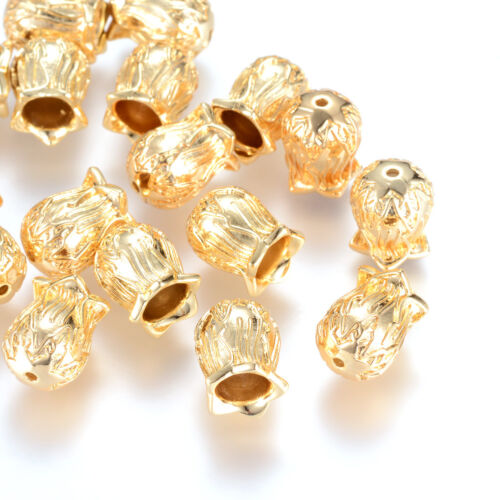 20pcs Real Gold Filled Brass Flower Bead Caps 5-Petal Carved Findings 13x10mm