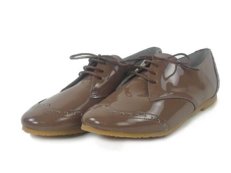 Junic Chaussures à lacets Brit Derby marron vernis cuir véritable Spain