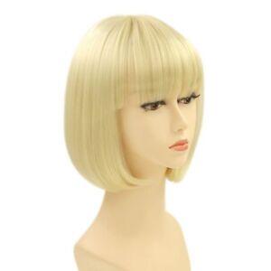 Fashion Short Blonde Bob Straight Bangs Women Cosplay Party Hair Full Wig + Cap