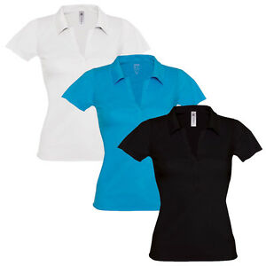 9bf779547 ... release date image is loading womens ladies polo t shirt v neck short  fed05 730ee