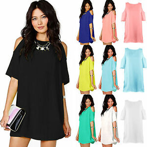 Summer-Women-Plus-Size-Chiffon-Dress-Casual-Party-Long-Tops-Blouse-Shirt-UK-8-20