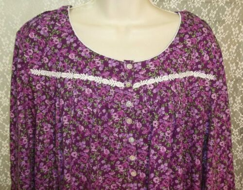 Eileen West Large L Cotton Knit Nightgown Long Sleeve Knee Length Purple Lilac