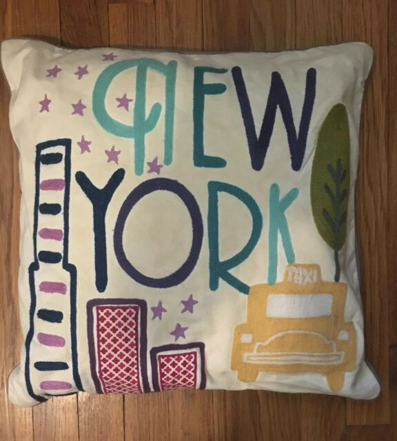 Pottery Barn New York City Knit Embroidered Destination