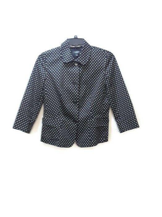 Talbots Polka Dot  Blazer Size 10 Cotton  NWOT Lined