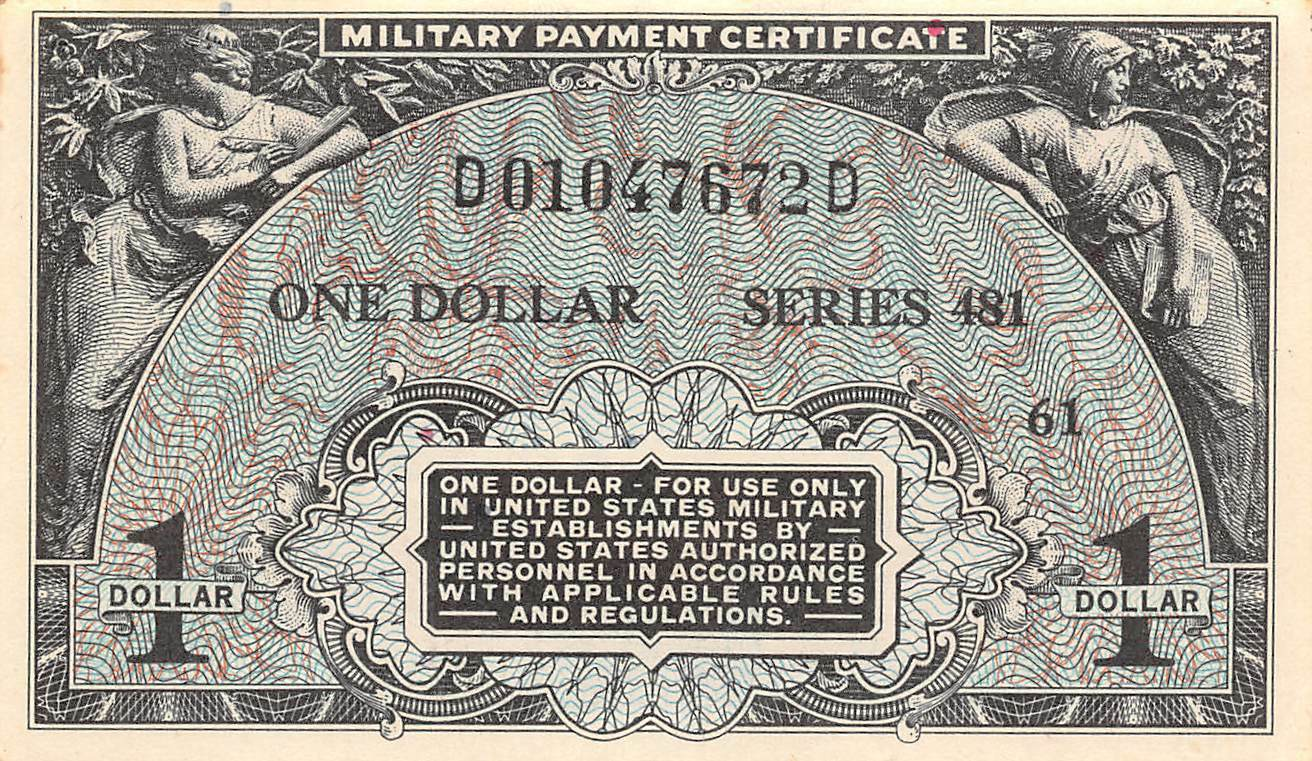 Military Payment Certificates Paper Money Us Coins Paper Money