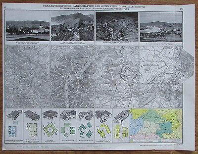 Charakteristische Landschaften aus Österreich Donaulandschaft Landkarte aus 1928