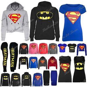 559549924ec Womens Ladies Cap Long Sleeves Superman Batman T Shirt Sweatshirt ...