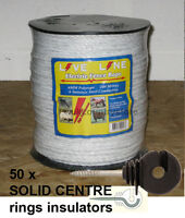 White Electric Fence Rope 200m & 50 Insulators