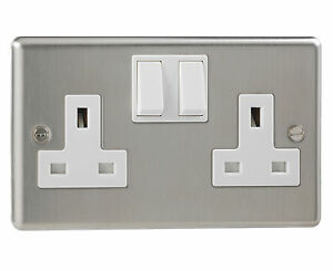 British-General-Stainless-Steel-Double-Switched-2-Gang-Socket-Double-Pole-13-Amp