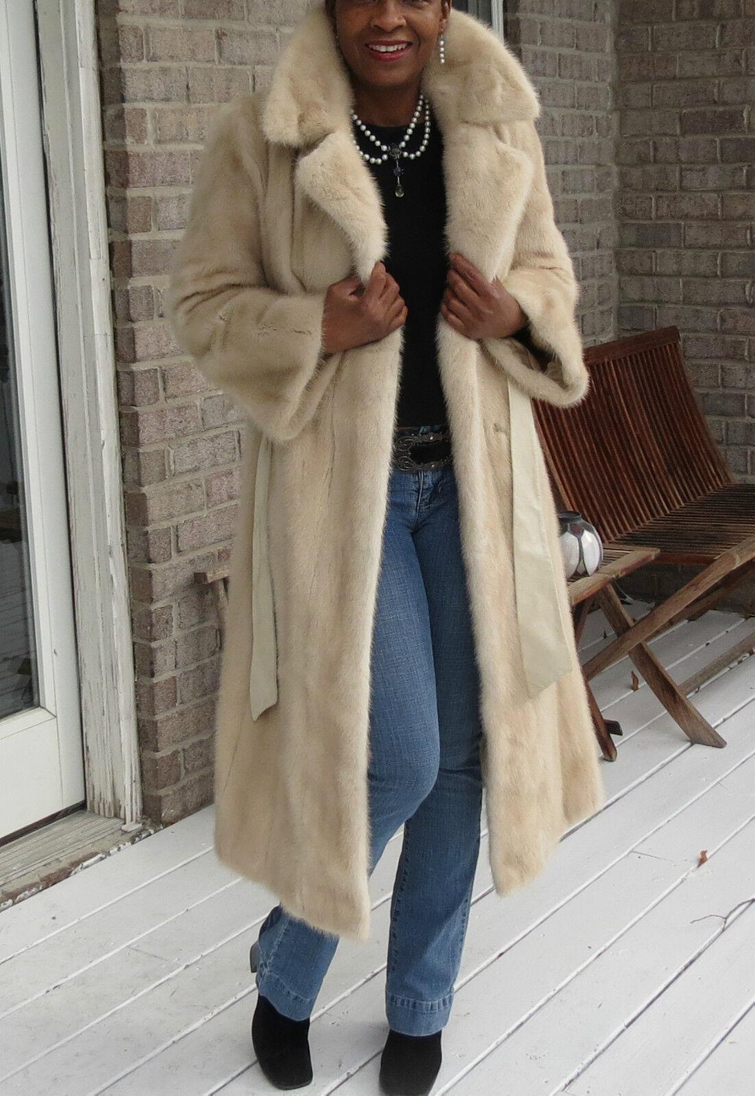Full Length Designer Cream white platinium bluesh Mink Fur Fur Fur Coat stroller S 2-6 cb8bf0