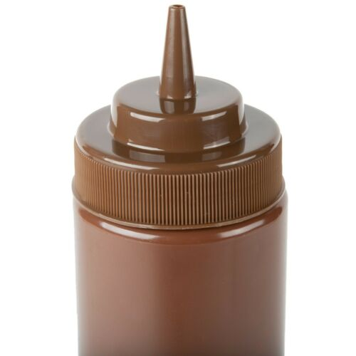 Brown Wide Mouth Plastic BBQ Barbecue Sauce Squeeze Bottle 6-Pack 24 oz