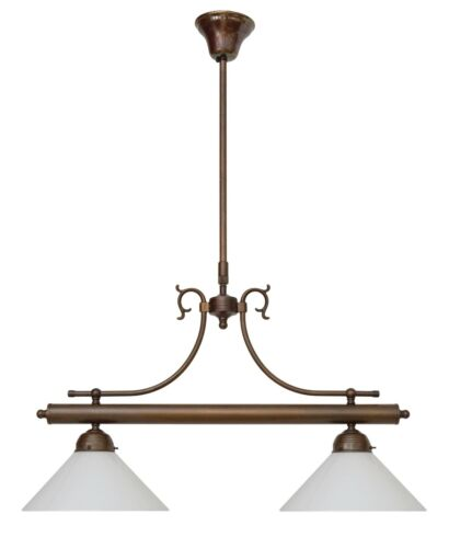 Landhaus Berliner Messinglampe Deckenlampe Hängeleuchte Messing Lampe Opalglas