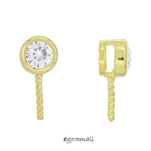 5x Gold Plated Sterling Silver CZ Pendant Bail Charm Connector Eye Pin #99017