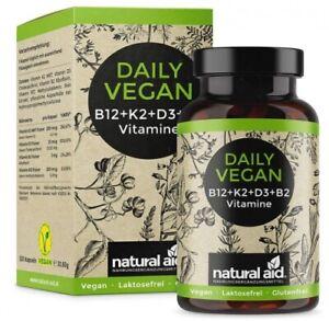 Quotidien Végétalien - Vitamine B12+K2+D3+B2 Complexe - 120 Gélules Dose Élevée